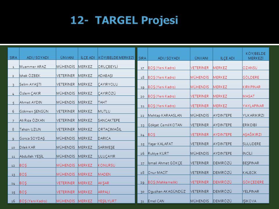 12- TARGEL Projesi SIRA ADI / SOYADI ÜNVANI İLÇE ADI KÖY/BELDE MERKEZİ