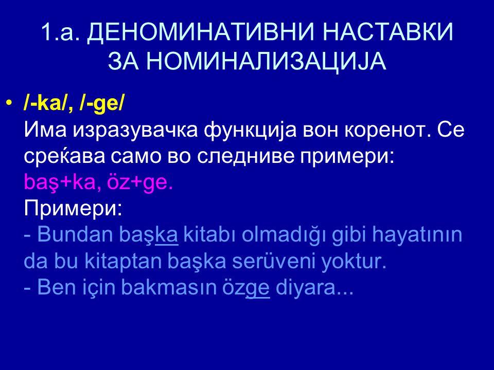 1.a. ДЕНОМИНАТИВНИ НАСТАВКИ ЗА НОМИНАЛИЗАЦИЈА