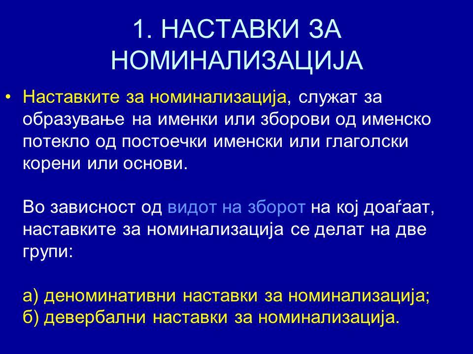 1. НАСТАВКИ ЗА НОМИНАЛИЗАЦИЈА