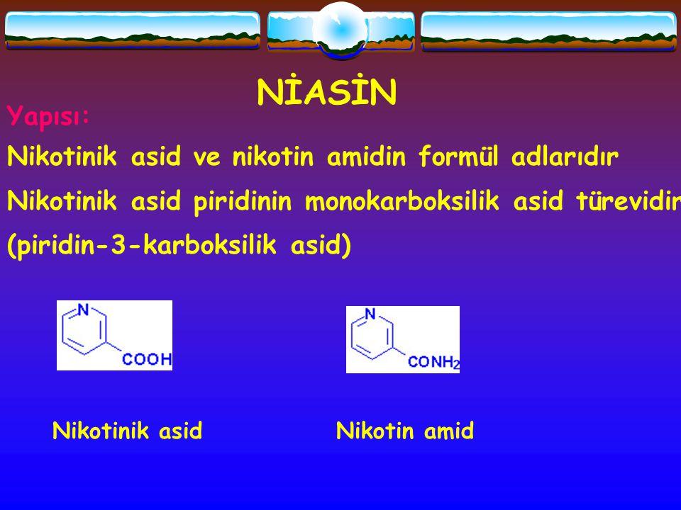 NİASİN Yapısı: Nikotinik asid ve nikotin amidin formül adlarıdır