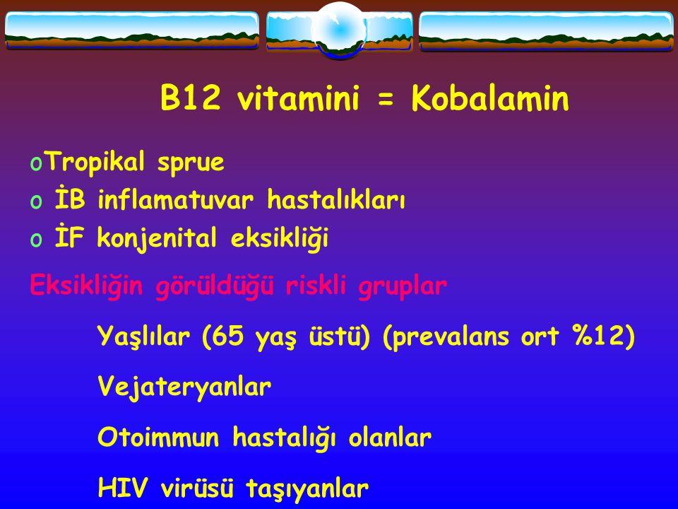 B12 vitamini = Kobalamin Tropikal sprue İB inflamatuvar hastalıkları