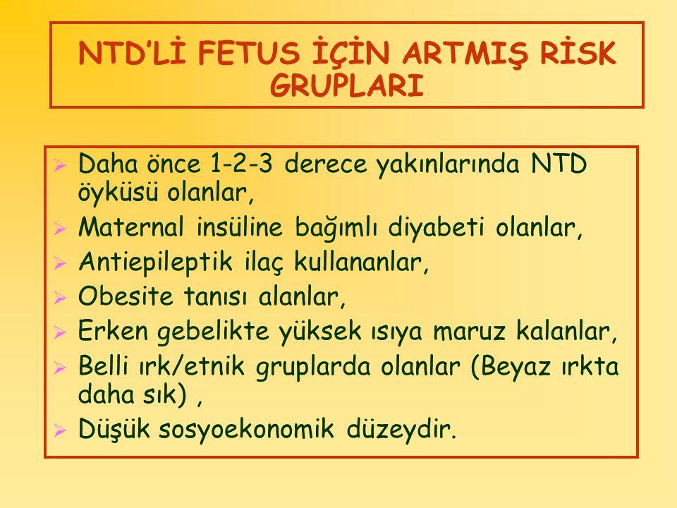 NTD'Lİ FETUS İÇİN ARTMIŞ RİSK GRUPLARI