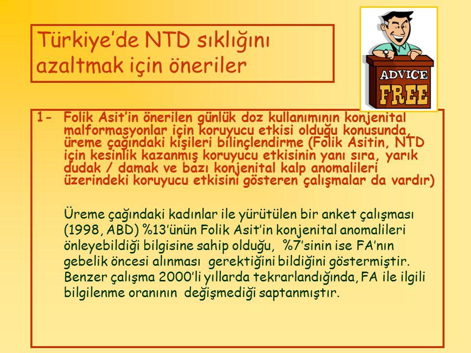 Türkiye'de NTD sıklığını azaltmak için öneriler