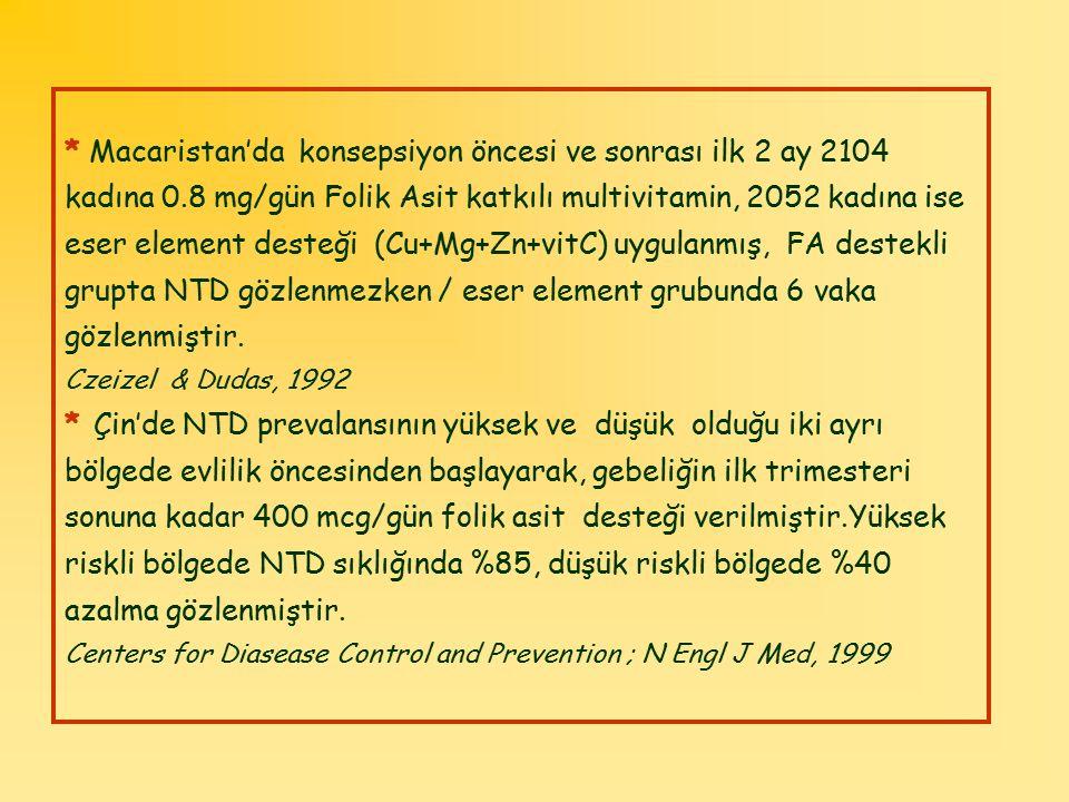 * Macaristan'da konsepsiyon öncesi ve sonrası ilk 2 ay 2104