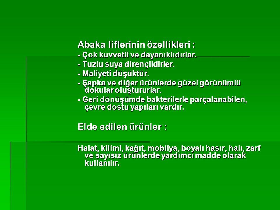 Abaka liflerinin özellikleri :