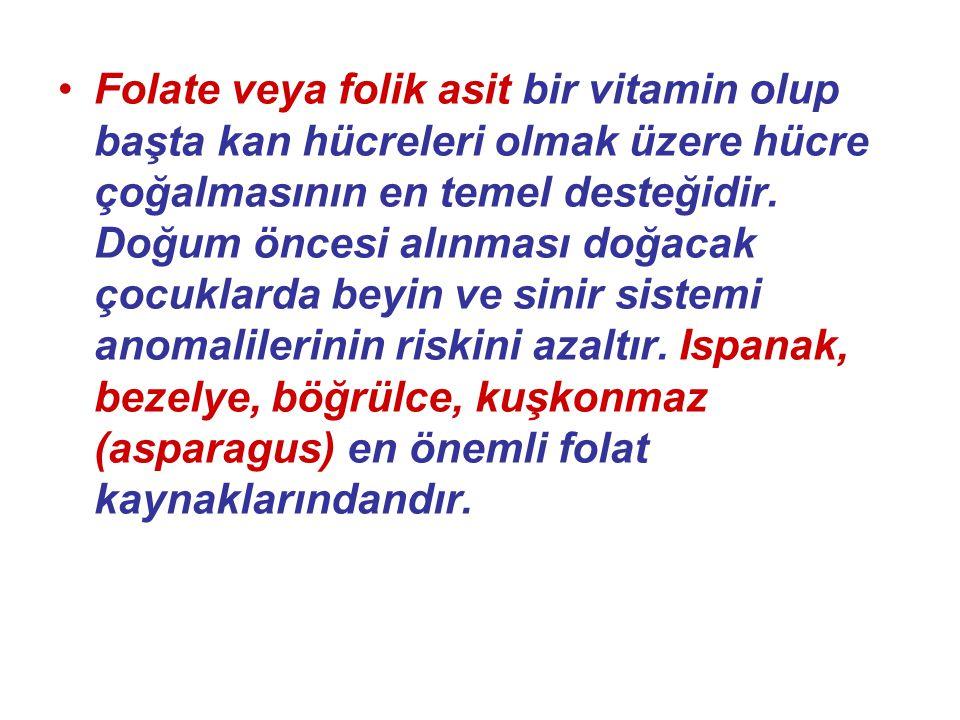 Folate veya folik asit bir vitamin olup başta kan hücreleri olmak üzere hücre çoğalmasının en temel desteğidir.