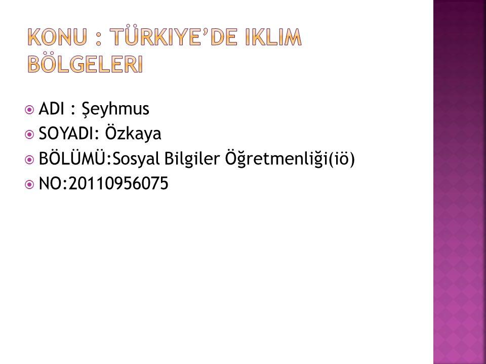 Konu : türkiye'de iklim bölgeleri