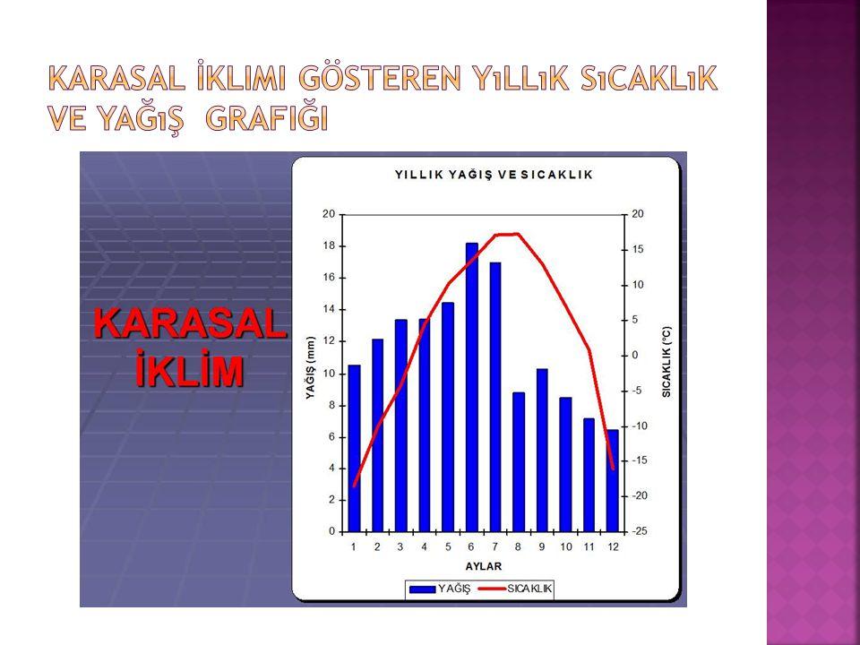 Karasal İklimi Gösteren yıllık sıcaklık ve yağış grafiği