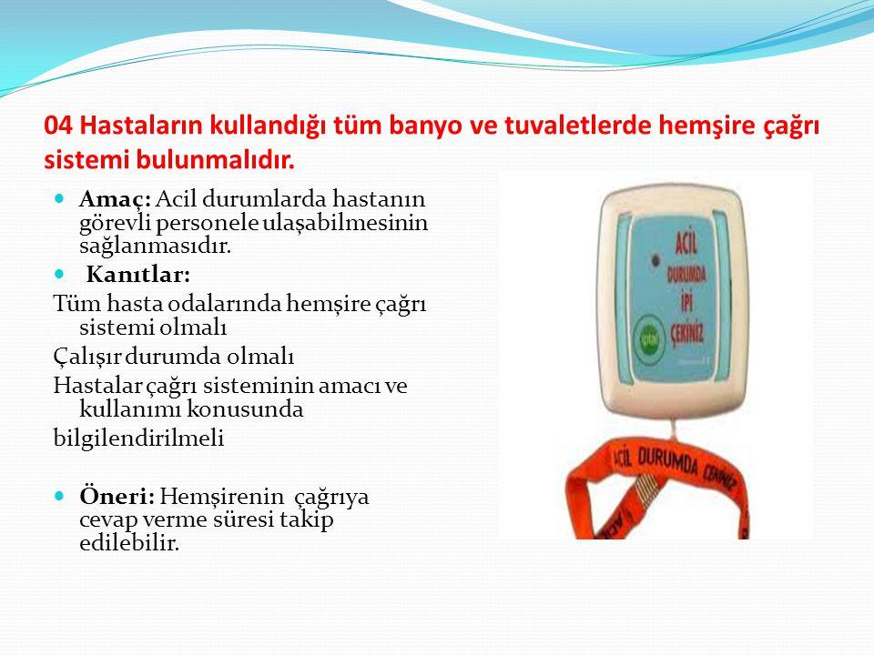 04 Hastaların kullandığı tüm banyo ve tuvaletlerde hemşire çağrı sistemi bulunmalıdır.