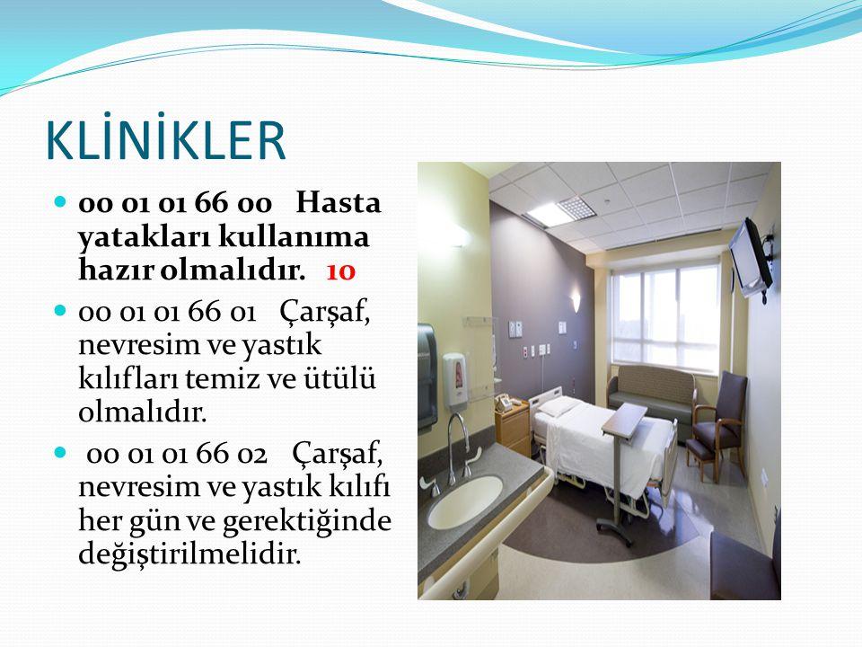 KLİNİKLER 00 01 01 66 00 Hasta yatakları kullanıma hazır olmalıdır. 10