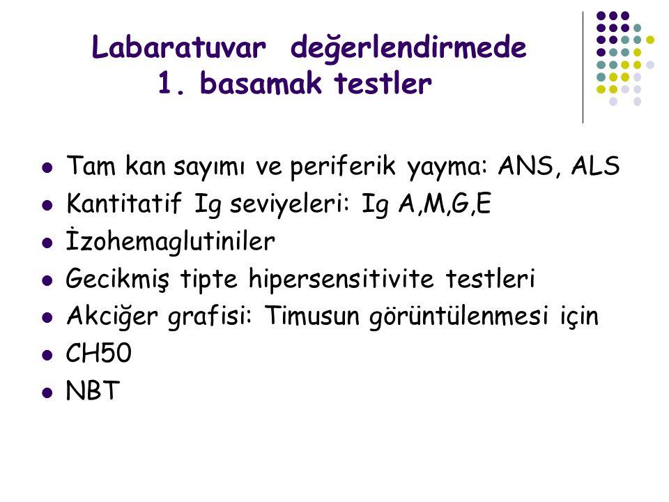 Labaratuvar değerlendirmede 1. basamak testler