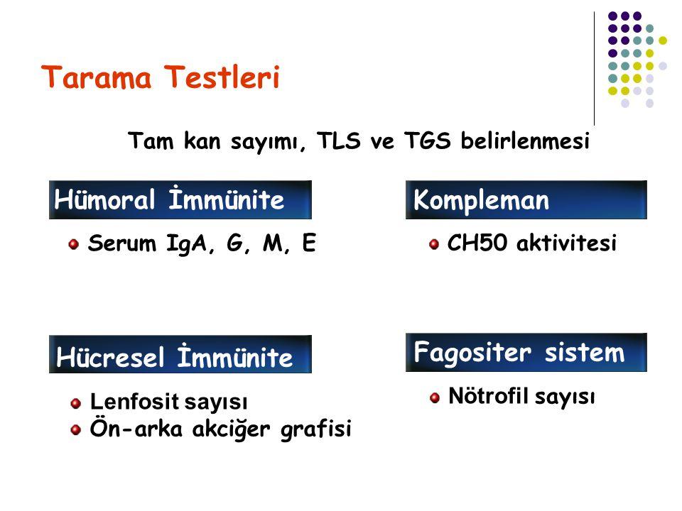 Tarama Testleri Hümoral İmmünite Kompleman Fagositer sistem