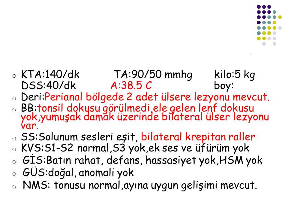 KTA:140/dk TA:90/50 mmhg kilo:5 kg