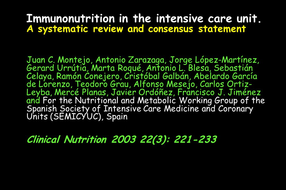 Immunonutrition in the intensive care unit
