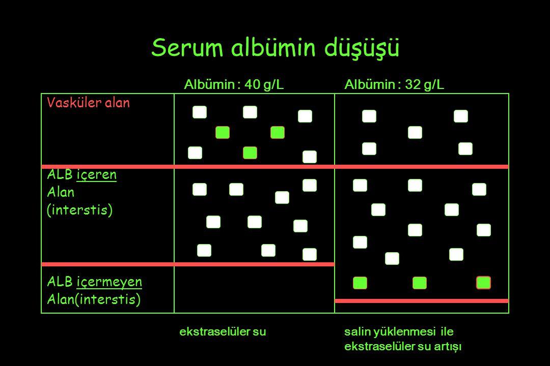Serum albümin düşüşü Albümin : 40 g/L Albümin : 32 g/L Vasküler alan