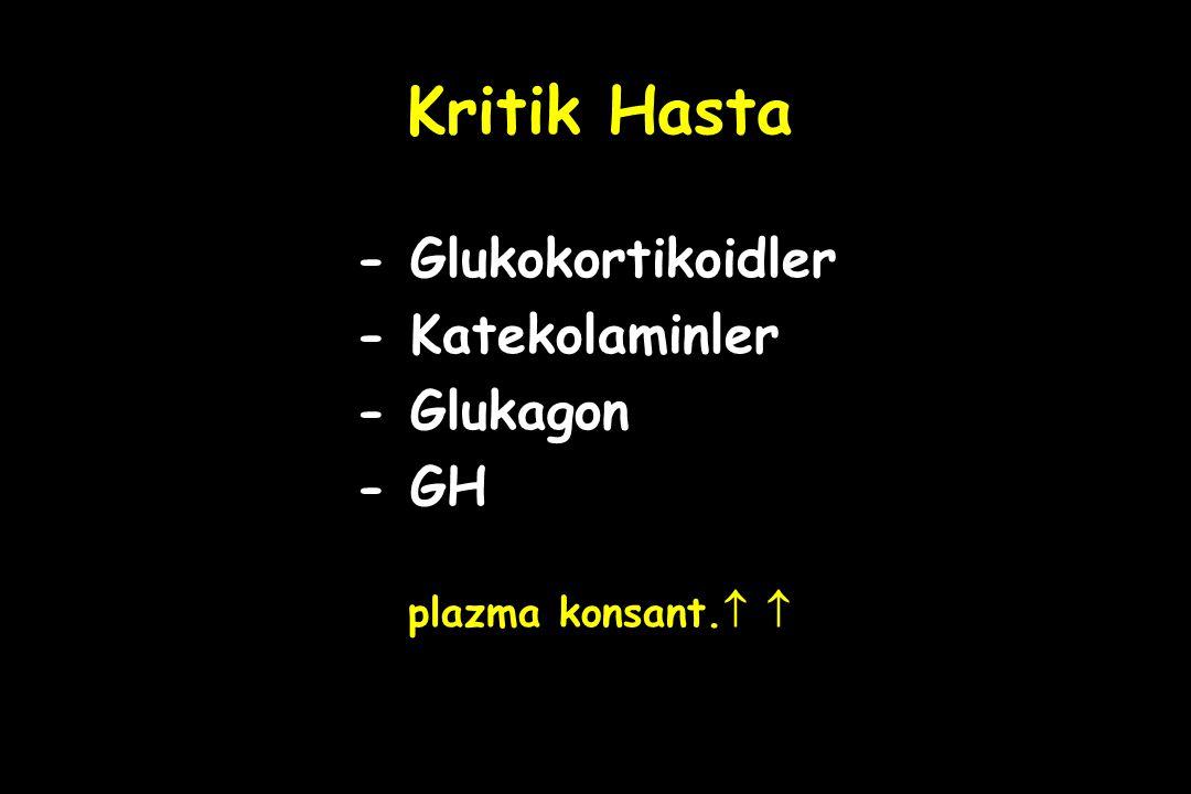 Kritik Hasta - Glukokortikoidler - Katekolaminler - Glukagon - GH
