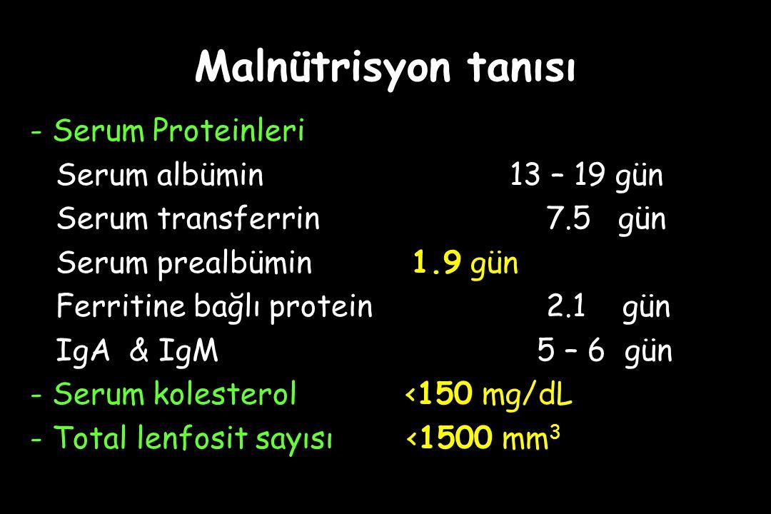 Malnütrisyon tanısı - Serum Proteinleri Serum albümin 13 – 19 gün