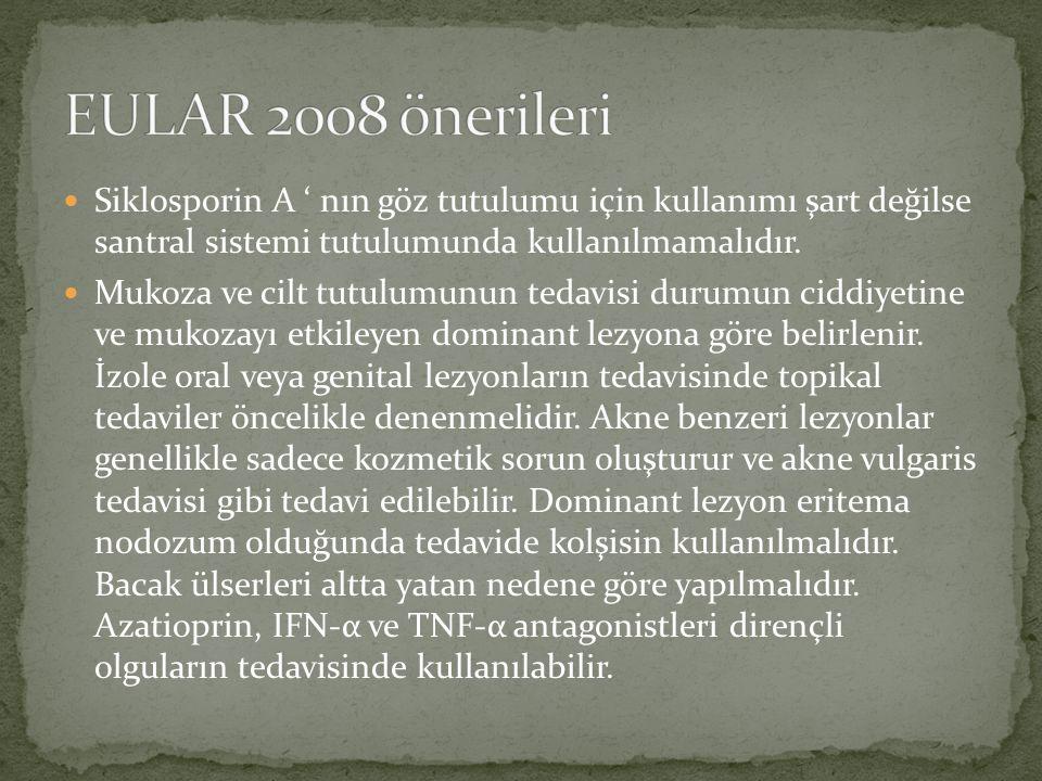 EULAR 2008 önerileri Siklosporin A ' nın göz tutulumu için kullanımı şart değilse santral sistemi tutulumunda kullanılmamalıdır.