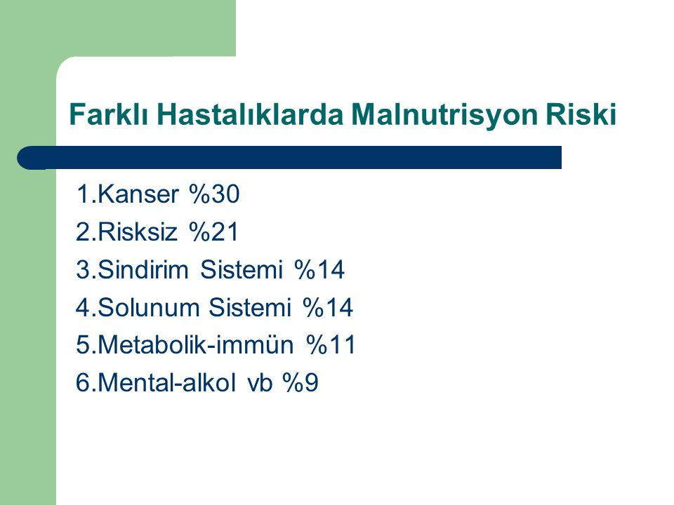 Farklı Hastalıklarda Malnutrisyon Riski