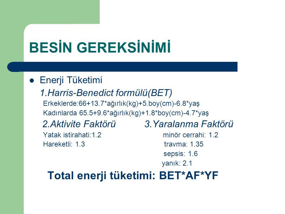 BESİN GEREKSİNİMİ Total enerji tüketimi: BET*AF*YF Enerji Tüketimi