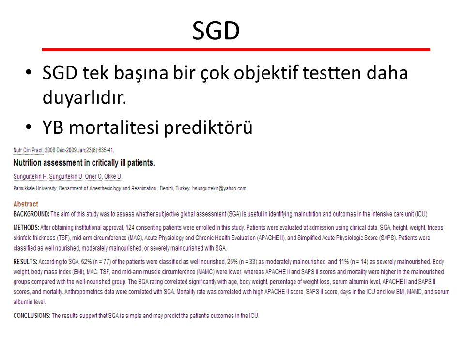 SGD SGD tek başına bir çok objektif testten daha duyarlıdır.