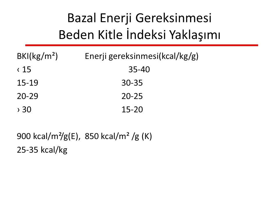 Bazal Enerji Gereksinmesi Beden Kitle İndeksi Yaklaşımı