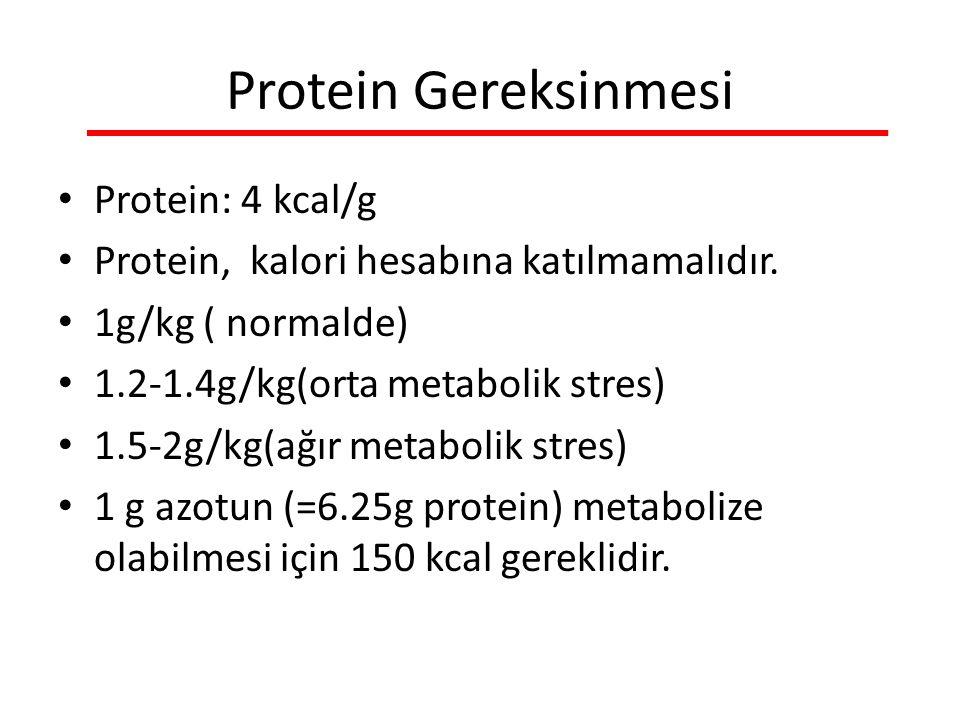 Protein Gereksinmesi Protein: 4 kcal/g