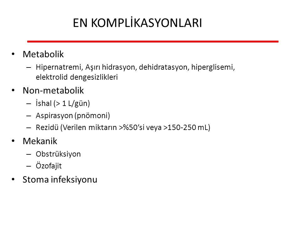 EN KOMPLİKASYONLARI Metabolik Non-metabolik Mekanik Stoma infeksiyonu