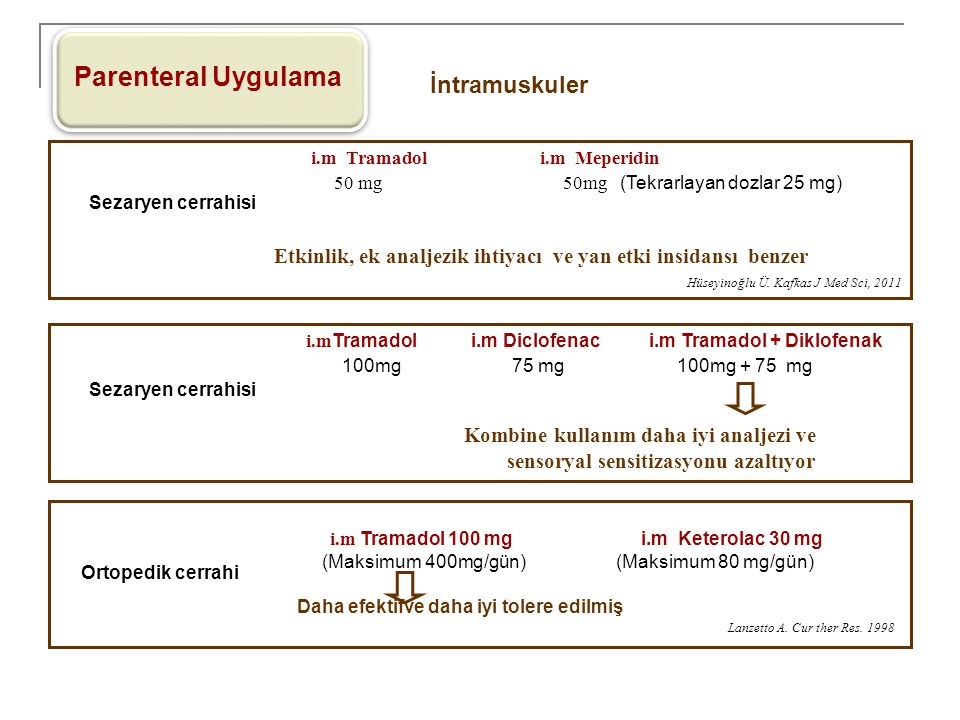 Parenteral Uygulama İntramuskuler 100mg 75 mg 100mg + 75 mg