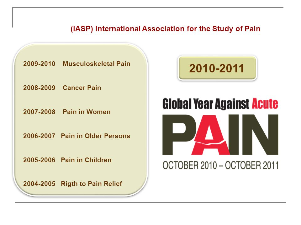2010-2011 (IASP) International Association for the Study of Pain