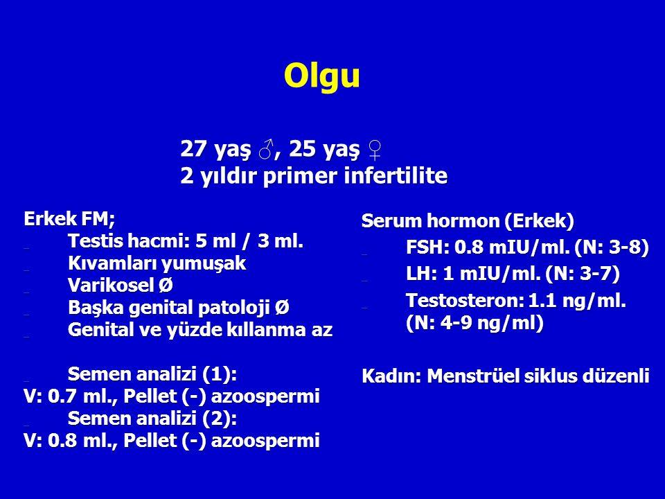 Olgu 27 yaş ♂, 25 yaş ♀ 2 yıldır primer infertilite Erkek FM;