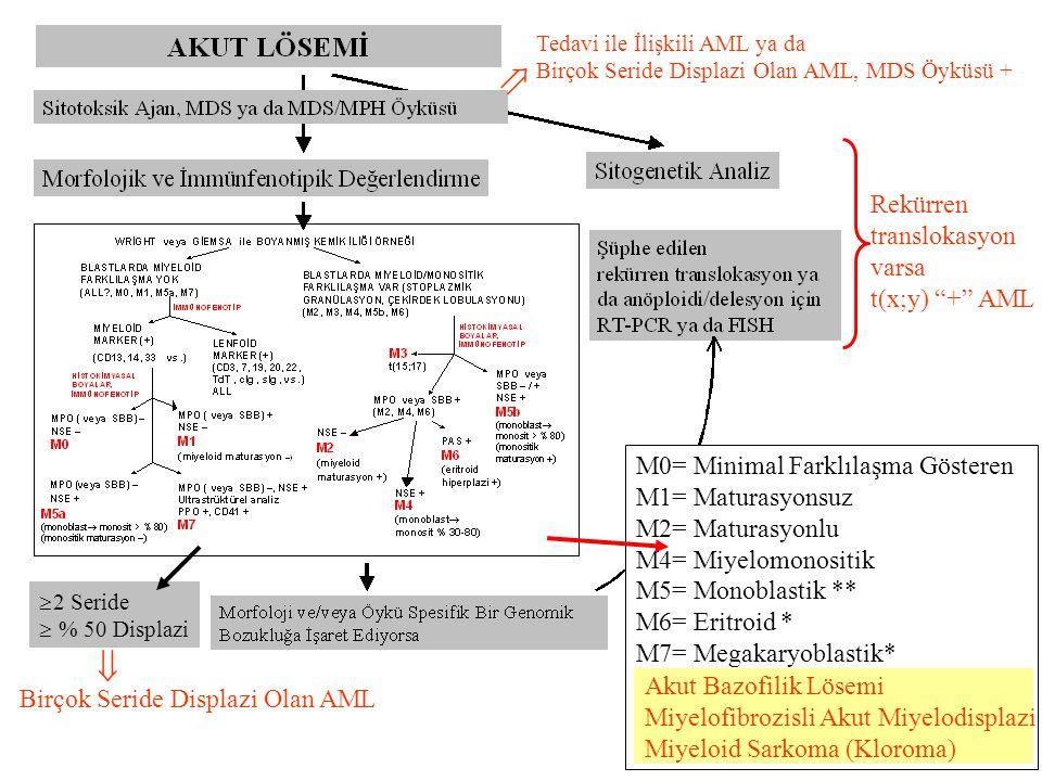   Rekürren translokasyon varsa t(x;y) + AML