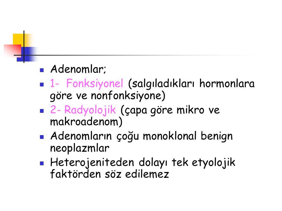 Adenomlar; 1- Fonksiyonel (salgıladıkları hormonlara göre ve nonfonksiyone) 2- Radyolojik (çapa göre mikro ve makroadenom)