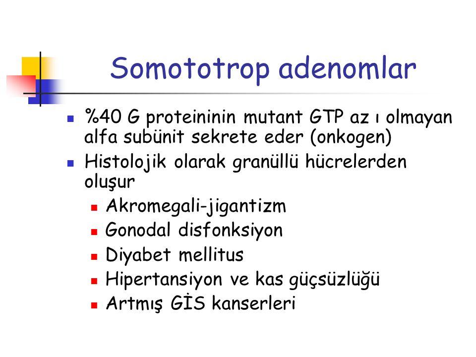 Somototrop adenomlar %40 G proteininin mutant GTP az ı olmayan alfa subünit sekrete eder (onkogen) Histolojik olarak granüllü hücrelerden oluşur.