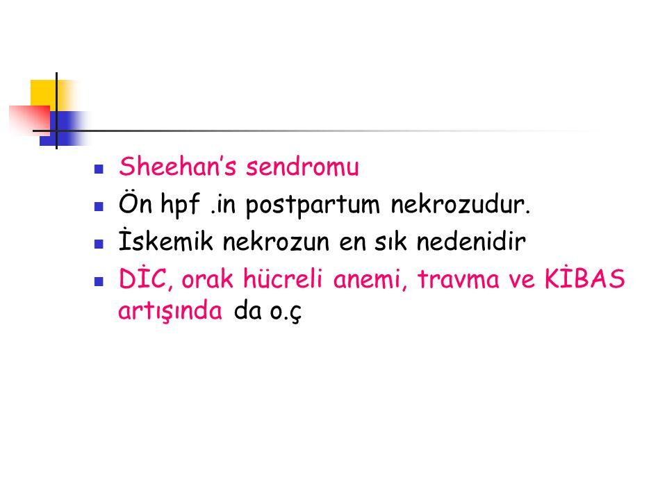 Sheehan's sendromu Ön hpf .in postpartum nekrozudur.