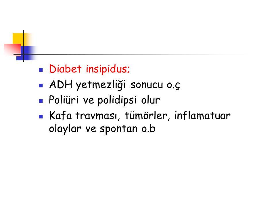 Diabet insipidus; ADH yetmezliği sonucu o.ç. Poliüri ve polidipsi olur.