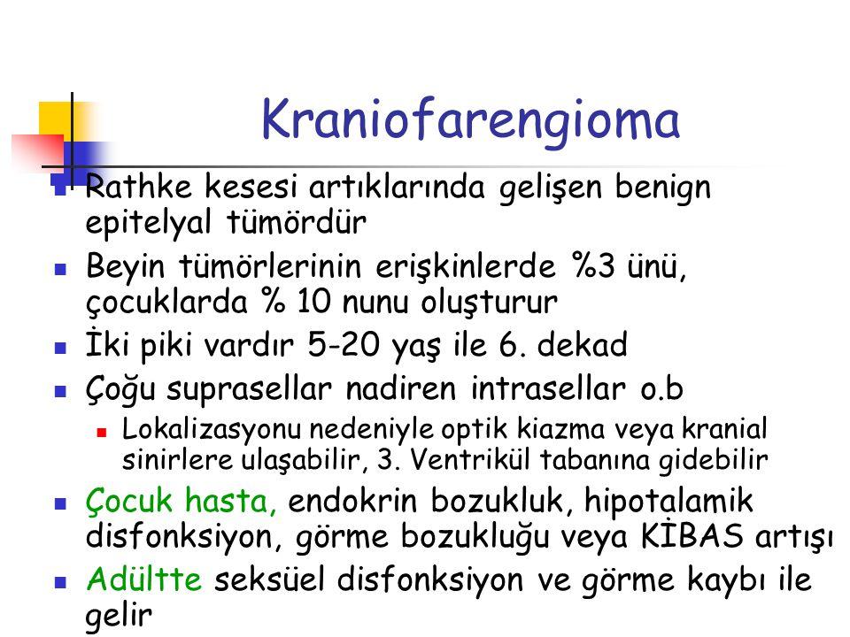 Kraniofarengioma Rathke kesesi artıklarında gelişen benign epitelyal tümördür.