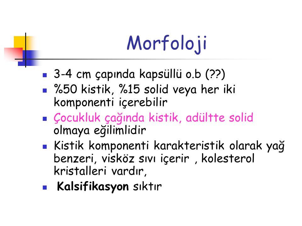 Morfoloji 3-4 cm çapında kapsüllü o.b ( )