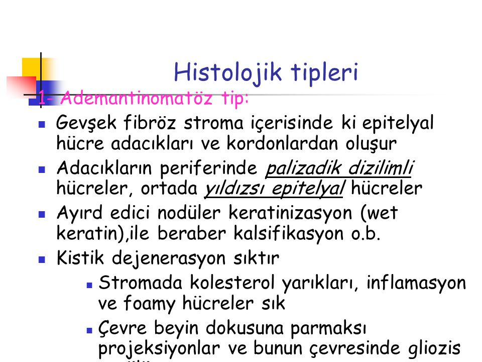 Histolojik tipleri 1- Ademantinomatöz tip: