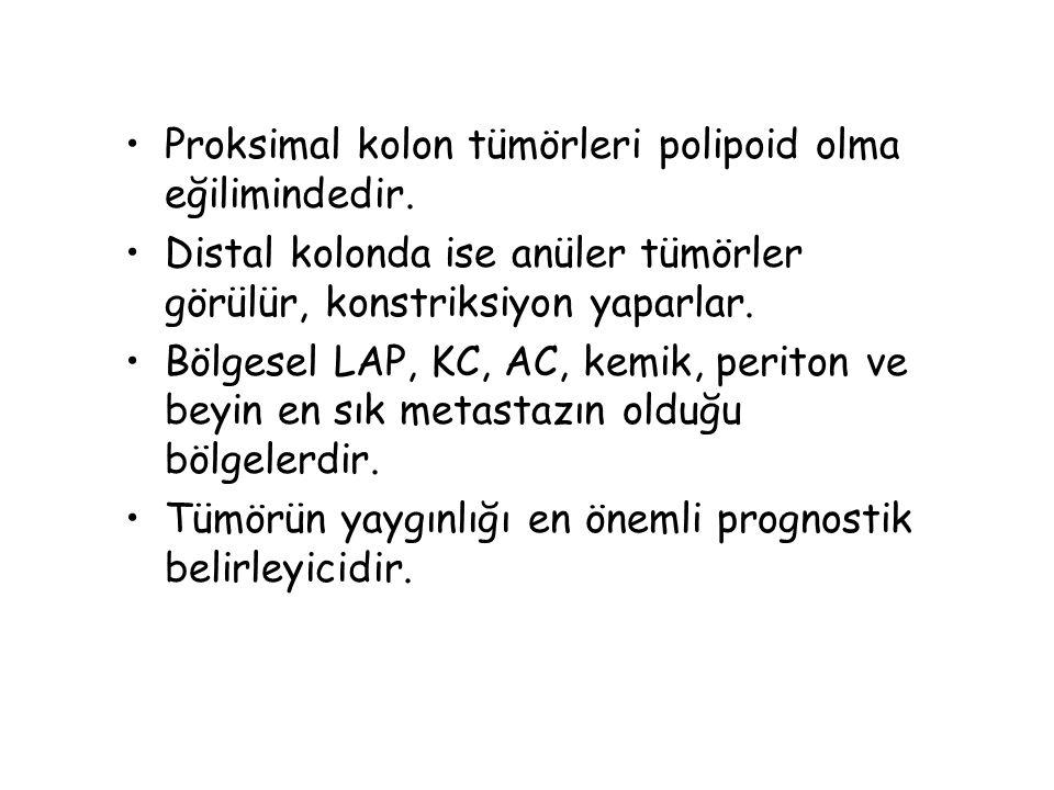 Proksimal kolon tümörleri polipoid olma eğilimindedir.