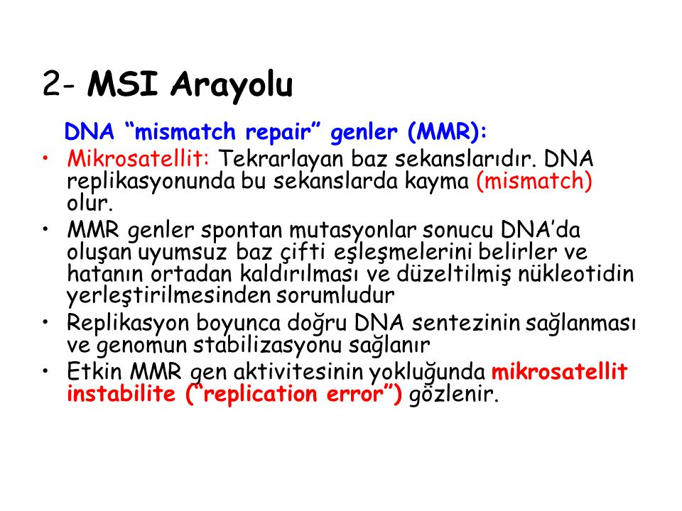 2- MSI Arayolu DNA mismatch repair genler (MMR):