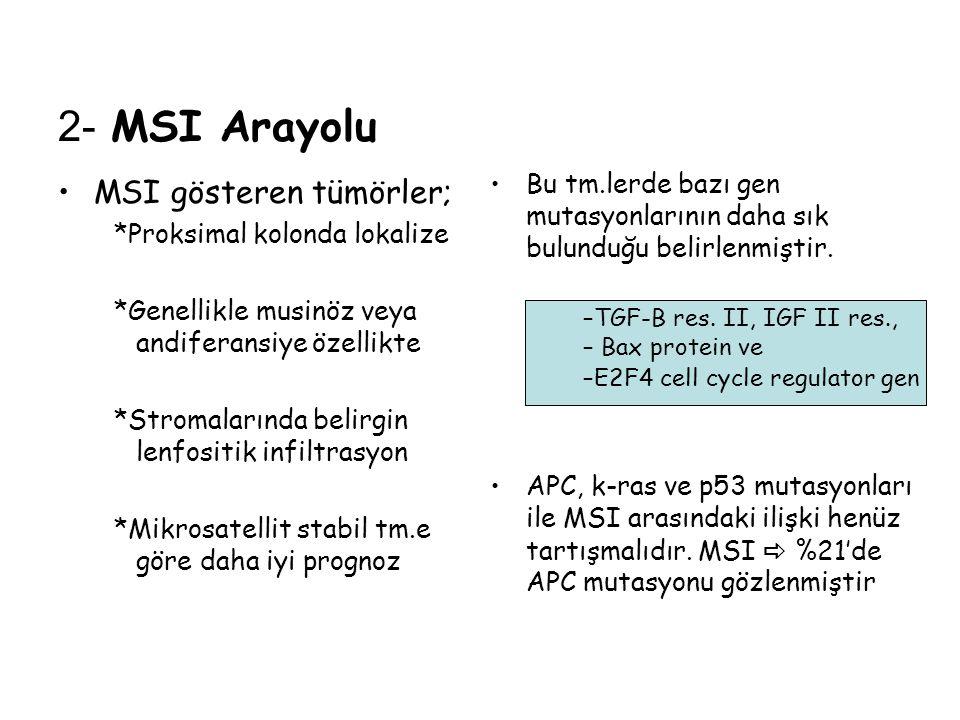 2- MSI Arayolu MSI gösteren tümörler;
