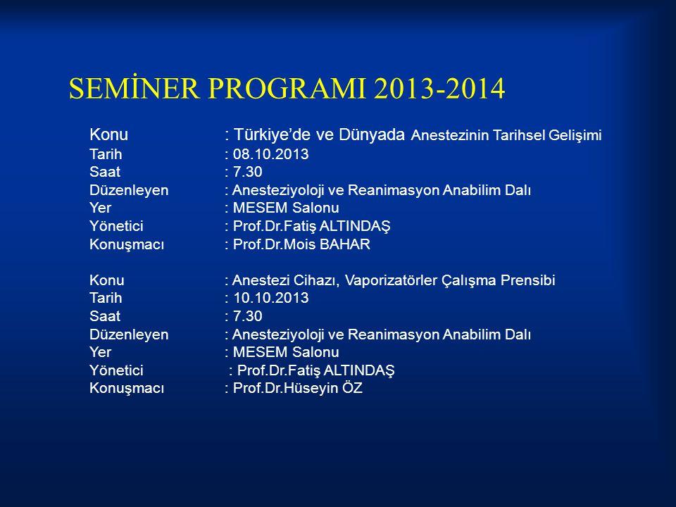 SEMİNER PROGRAMI 2013-2014 Konu : Türkiye'de ve Dünyada Anestezinin Tarihsel Gelişimi. Tarih : 08.10.2013.