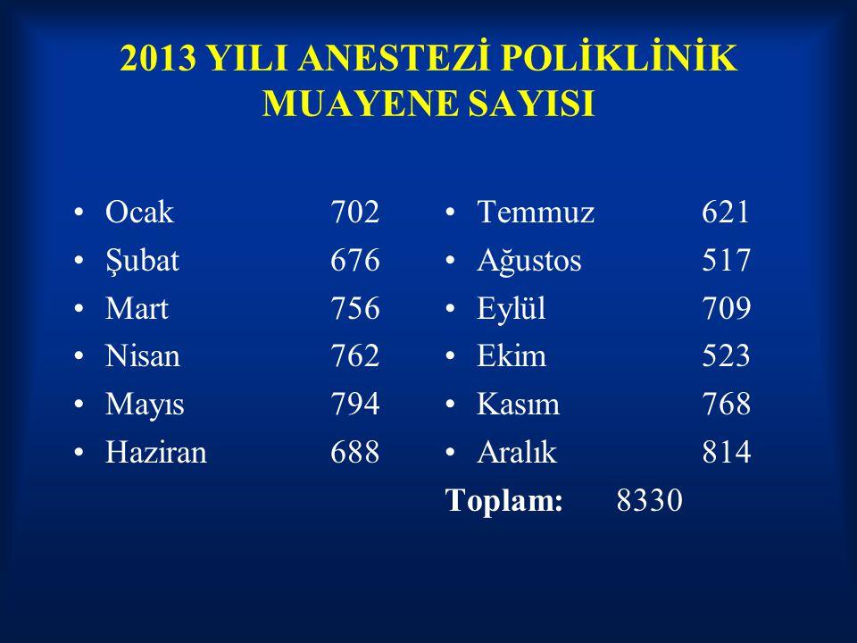 2013 YILI ANESTEZİ POLİKLİNİK MUAYENE SAYISI