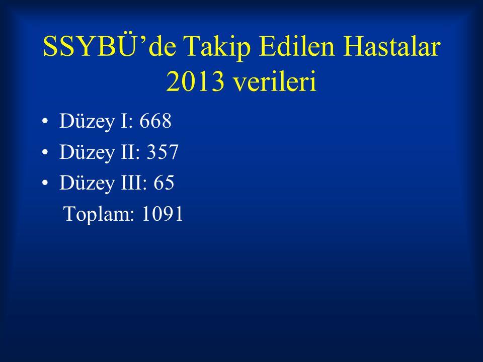 SSYBÜ'de Takip Edilen Hastalar 2013 verileri