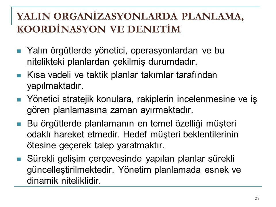 YALIN ORGANİZASYONLARDA PLANLAMA, KOORDİNASYON VE DENETİM