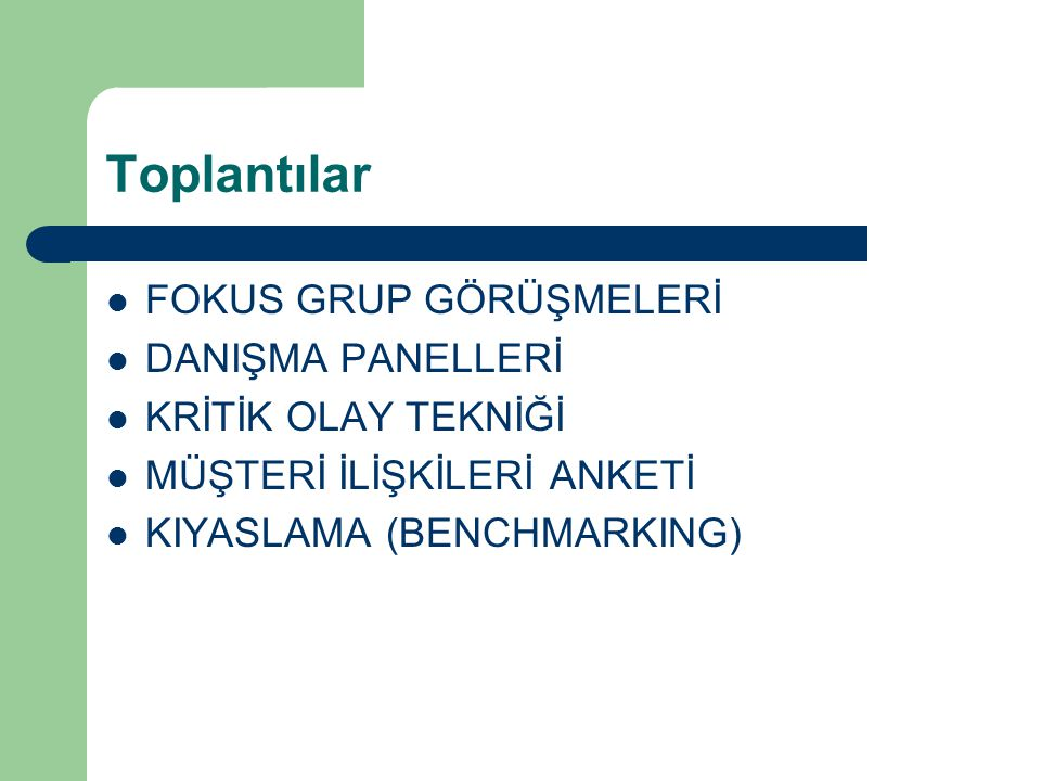 Toplantılar FOKUS GRUP GÖRÜŞMELERİ DANIŞMA PANELLERİ