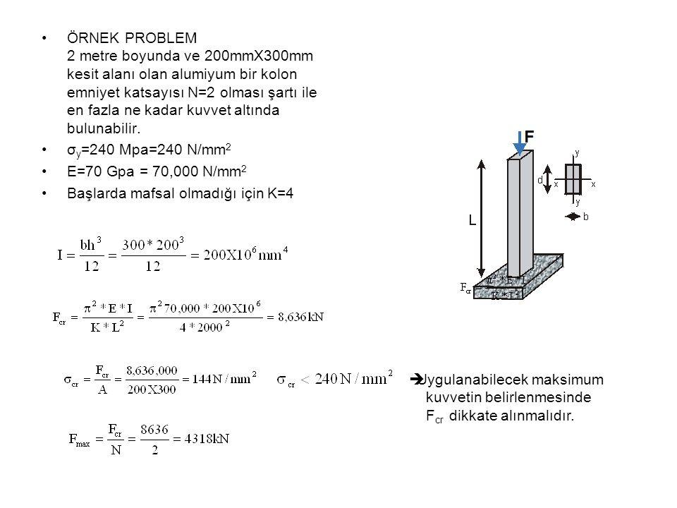 ÖRNEK PROBLEM 2 metre boyunda ve 200mmX300mm kesit alanı olan alumiyum bir kolon emniyet katsayısı N=2 olması şartı ile en fazla ne kadar kuvvet altında bulunabilir.