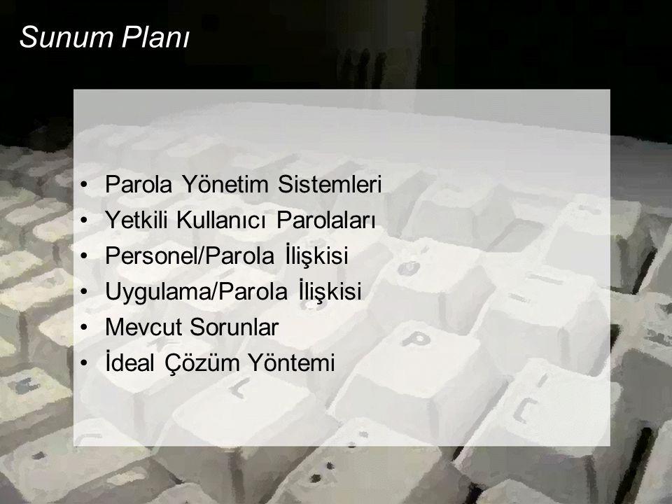 Sunum Planı Parola Yönetim Sistemleri Yetkili Kullanıcı Parolaları