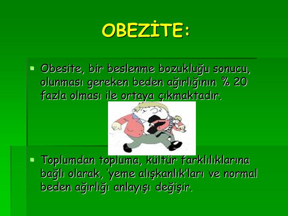 OBEZİTE: Obesite, bir beslenme bozukluğu sonucu, olunması gereken beden ağırlığının % 20 fazla olması ile ortaya çıkmaktadır.